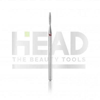 Capăt freză Diamantat HEAD - flacără, roșu, L- 8,0 mm, Ø1,4 mm