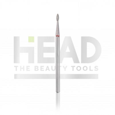 Capăt freză Diamantat HEAD - picătură, roșu, L- 4,0 mm, Ø1,6 mm