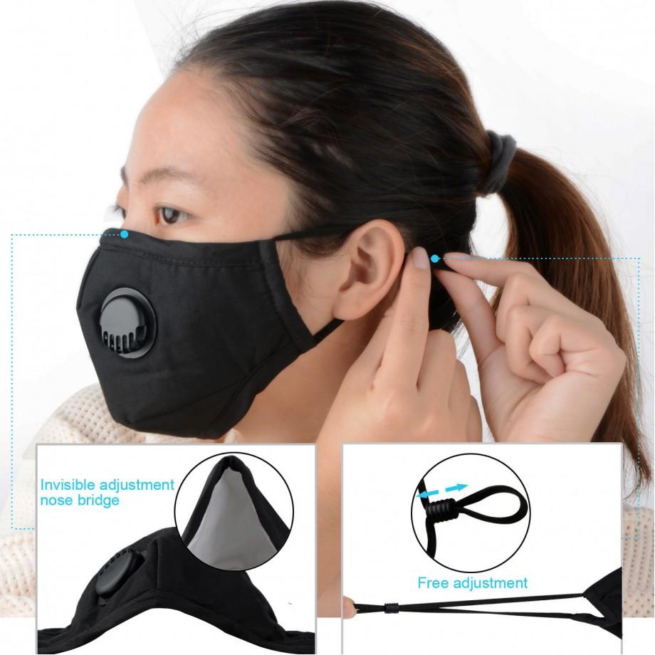 Mască de Protecție Reutilizabilă Bleumarin cu Supapă + 2 Filtre Carbon Activat PM2.5