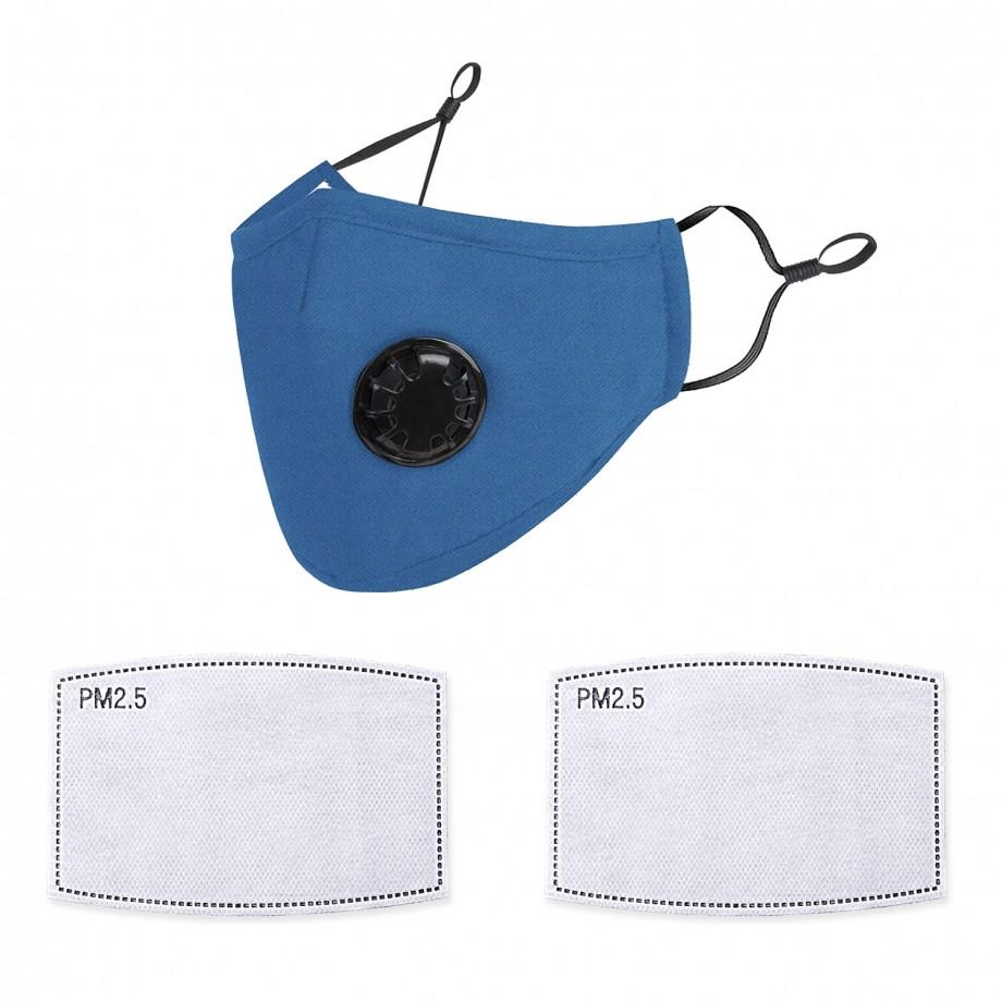 Mască de Protecție Reutilizabilă Albastră cu Supapă + 2 Filtre Carbon Activat PM2.5