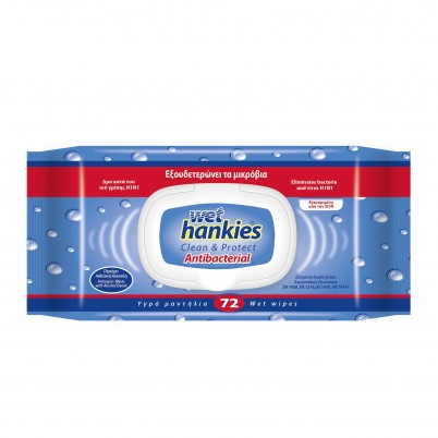 Servetele umede Wet Hankies, antiseptice, 72 buc