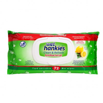 Servetele umede Wet Hankies, Antiseptice, Lamaie, 72 buc