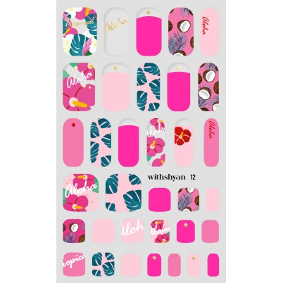 Sticker Sheet for manicure & pedicure WITHSHYAN Nail Dress No. 12